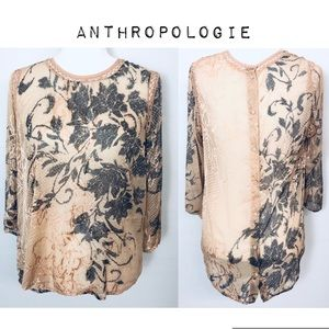 {Anthro} Meadow Rue🌿Long Sleeve Sheer Top